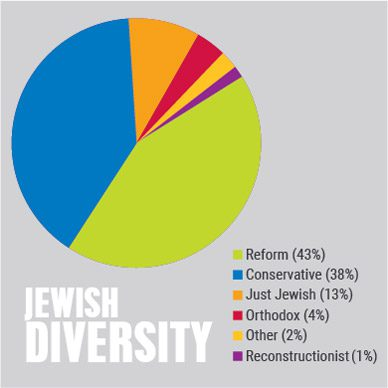 Jewish Diversity - Reform 43%, Conservative 38%, Just Jewish 13%, Orthodox 4%, Other 2%, Reconstructionist 1%
