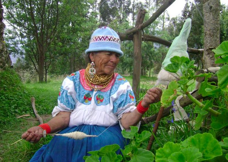 Quechua woman spinning wool